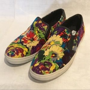 Steve Madden Velvety Floral Fabric Slip-on Shoes